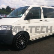 VW Transporter T5 van with sportline side bars roof rails and calibre altus 20 inch alloy wheels 3