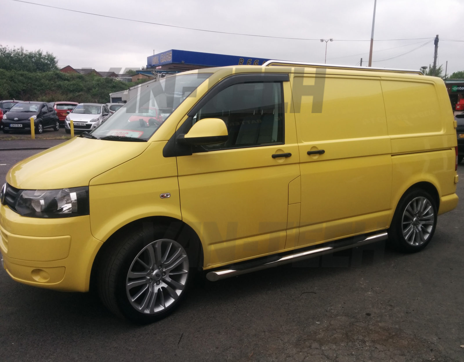 Vw T5 Swb Lwb Slashed End Side Bars With Three Steps Van