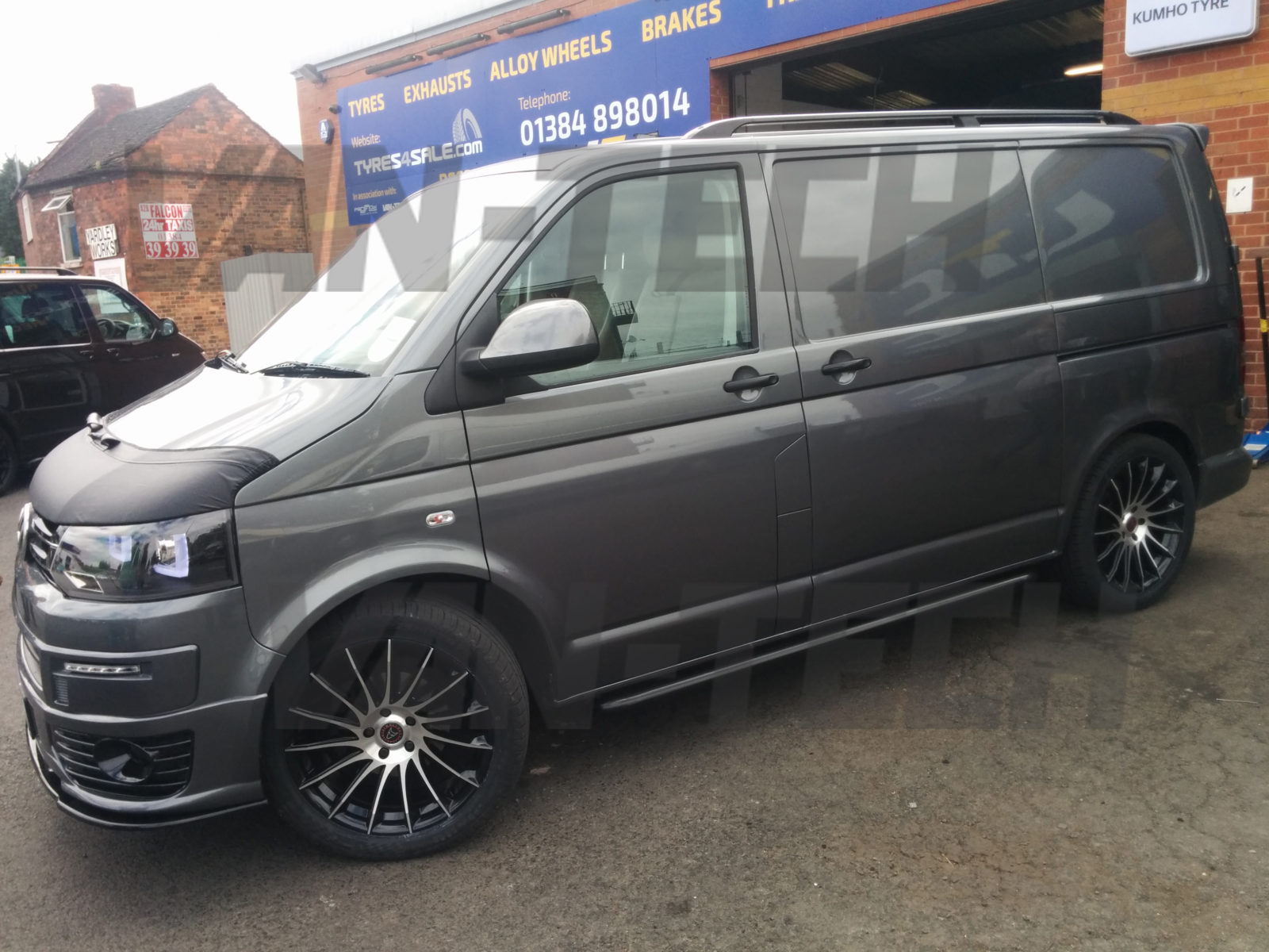 Another Great Job Completed By Van Tech VW Transporter T5 With New Black Sportline Style Side Bars Aluminium Roof Rails Half Bonnet Bra