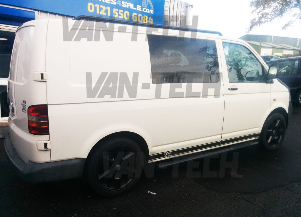 Vw Transporter T5 T5 1 And T6 Black Side Bars With 3 Steps