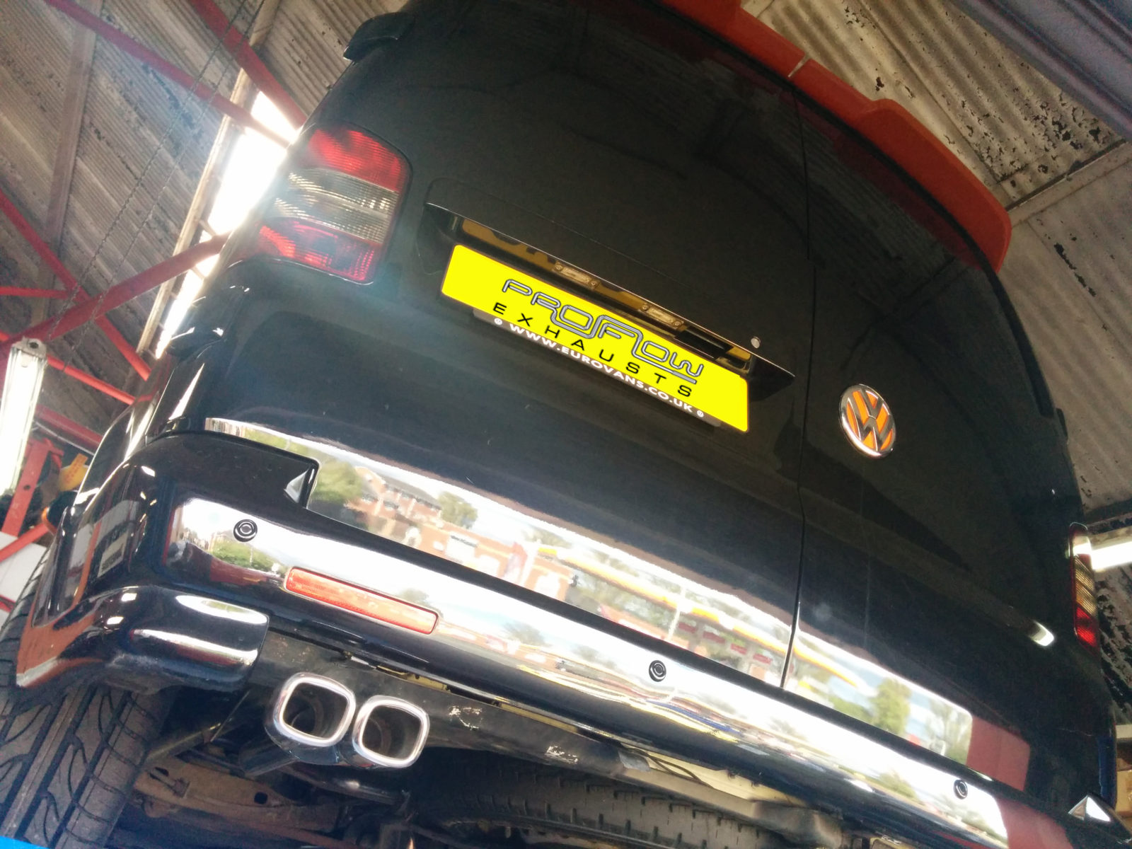 VW T5 Transporter Stainless Steel Custom Exhaust Back Box Twin Tail