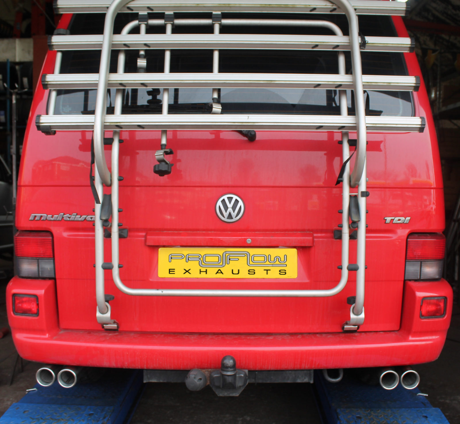 vw t4 transporter stainless steel custom exhaust system dual twin tail pipes van tech. Black Bedroom Furniture Sets. Home Design Ideas