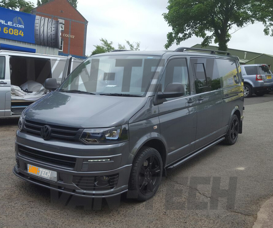 vw transporter t5 with new front end styling pack fitted van tech. Black Bedroom Furniture Sets. Home Design Ideas