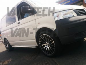 VW Transporter T5 van with sportline side bars roof rails and calibre altus 20 inch alloy wheels 2