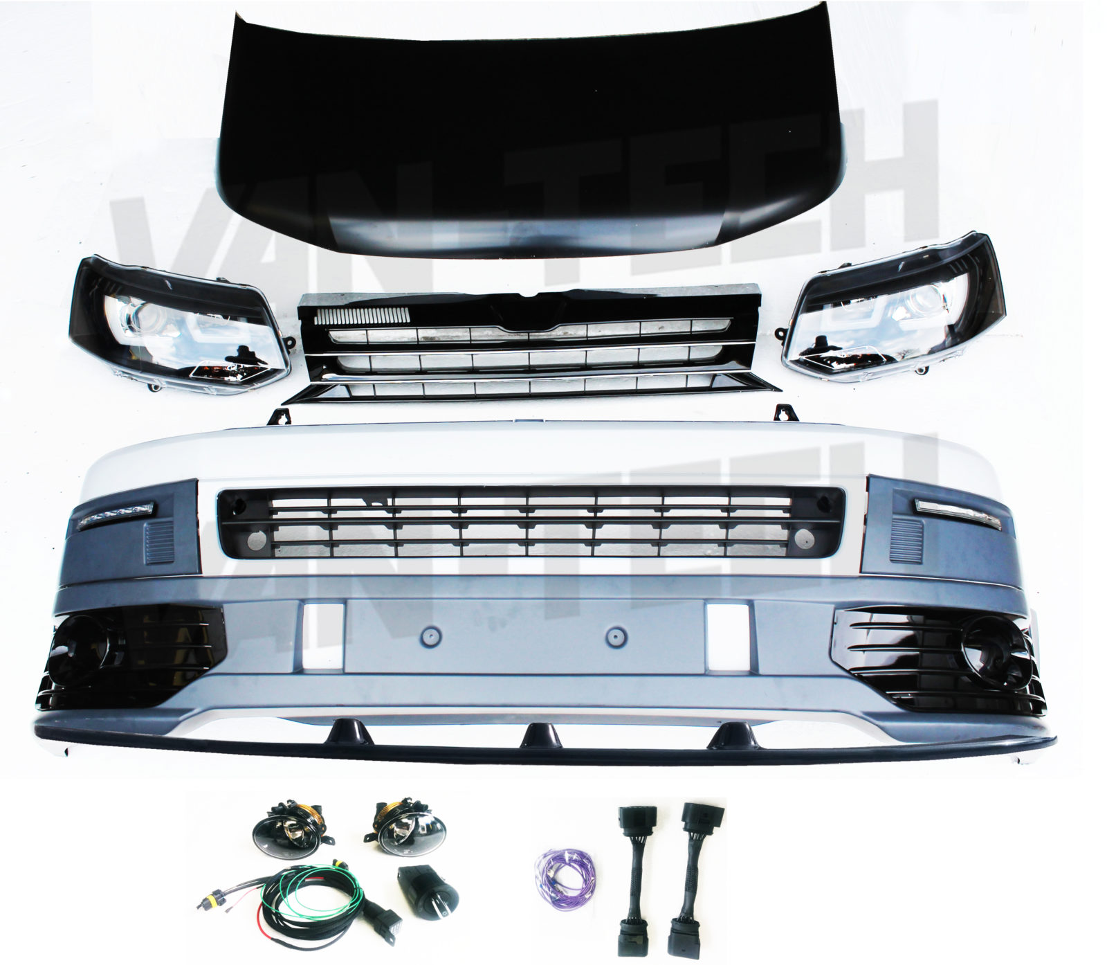 vw transporter styling pack new with wiring and lower splitter vw transporter t5 front end conversion styling pack includes vw t5 fog light wiring diagram at gsmx.co