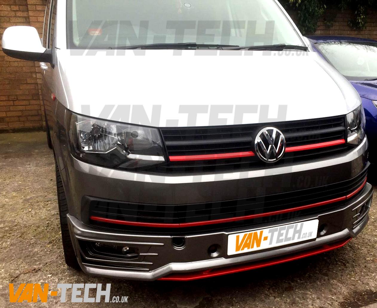 vw transporter t6 sportline front lower bumper spoiler van tech. Black Bedroom Furniture Sets. Home Design Ideas
