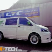 VW Transporter T5 fitted with Calibre Vintage 19 inch allow wheels van-tech
