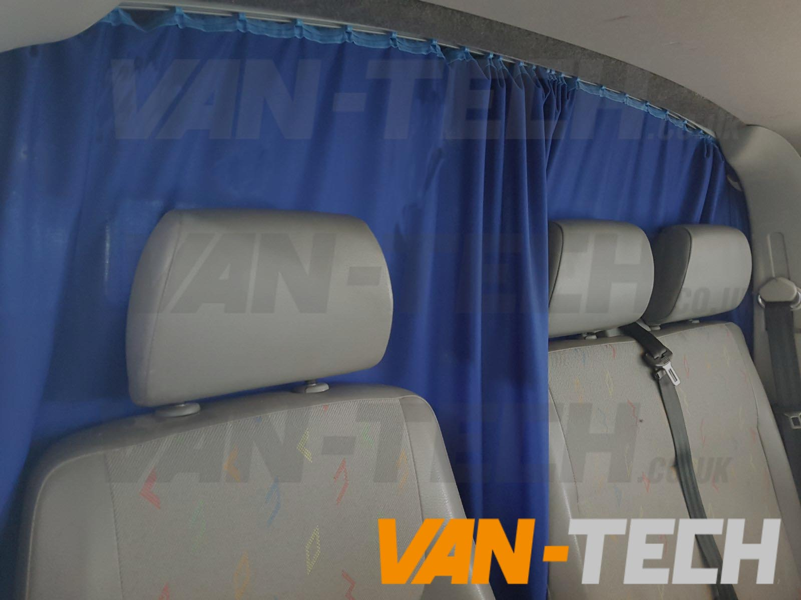 vw transporter t5 van with interior curtains fitted by van tech van tech. Black Bedroom Furniture Sets. Home Design Ideas