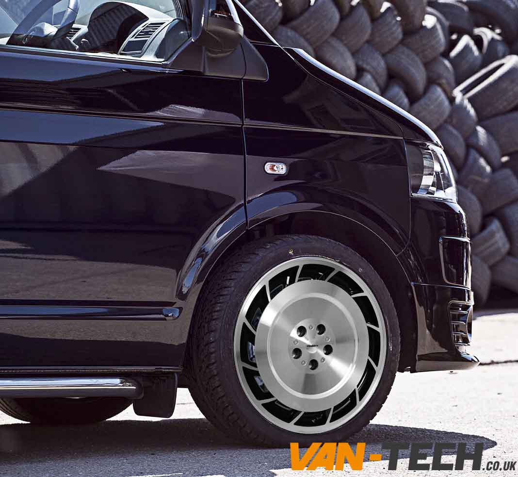 "Wheel And Tyre Packages >> VW T5 T5.1 T6 Calibre Turbine 20"" Alloy Wheels Black / Polished"