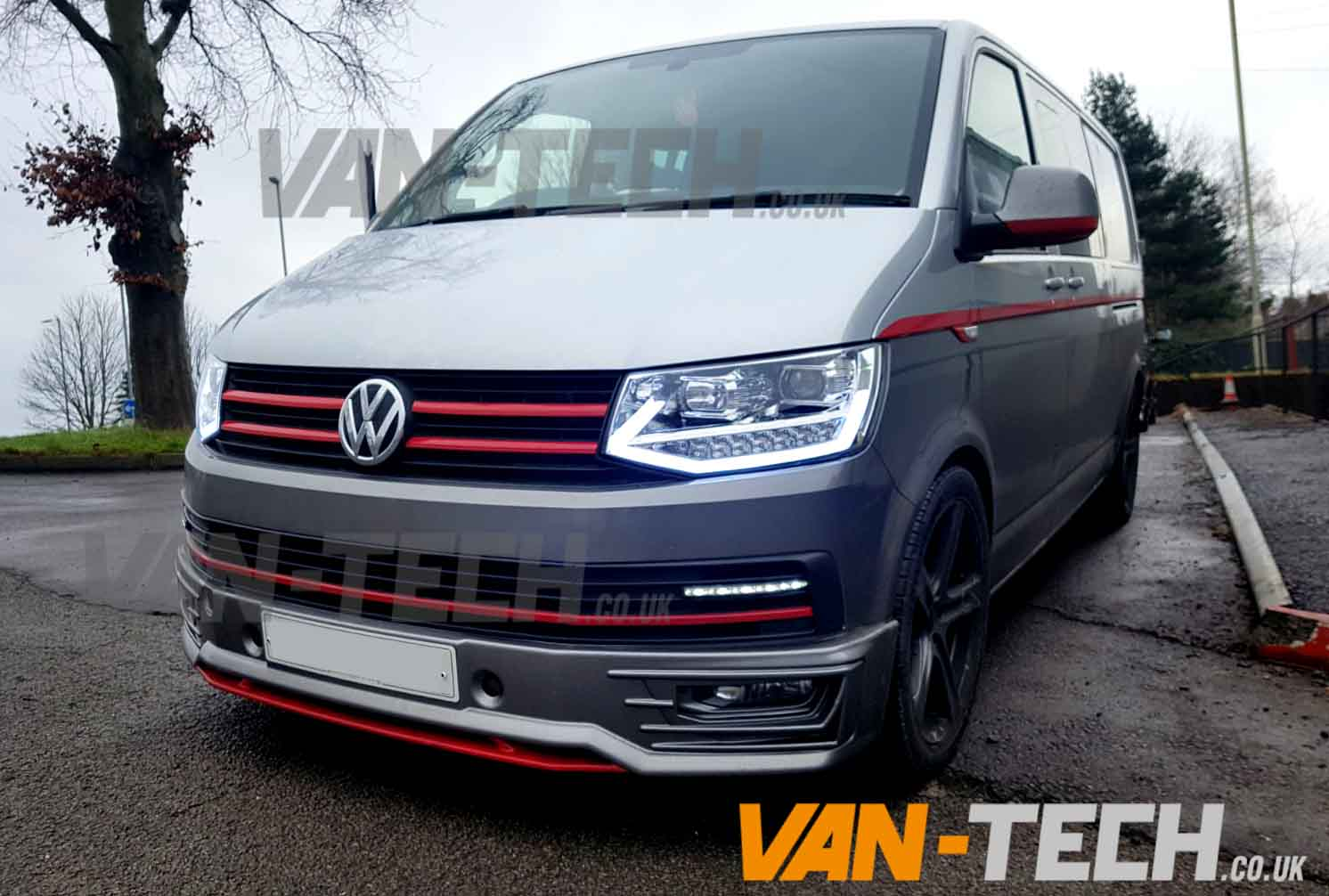 vw transporter t6 led drl light bar headlights van tech. Black Bedroom Furniture Sets. Home Design Ideas