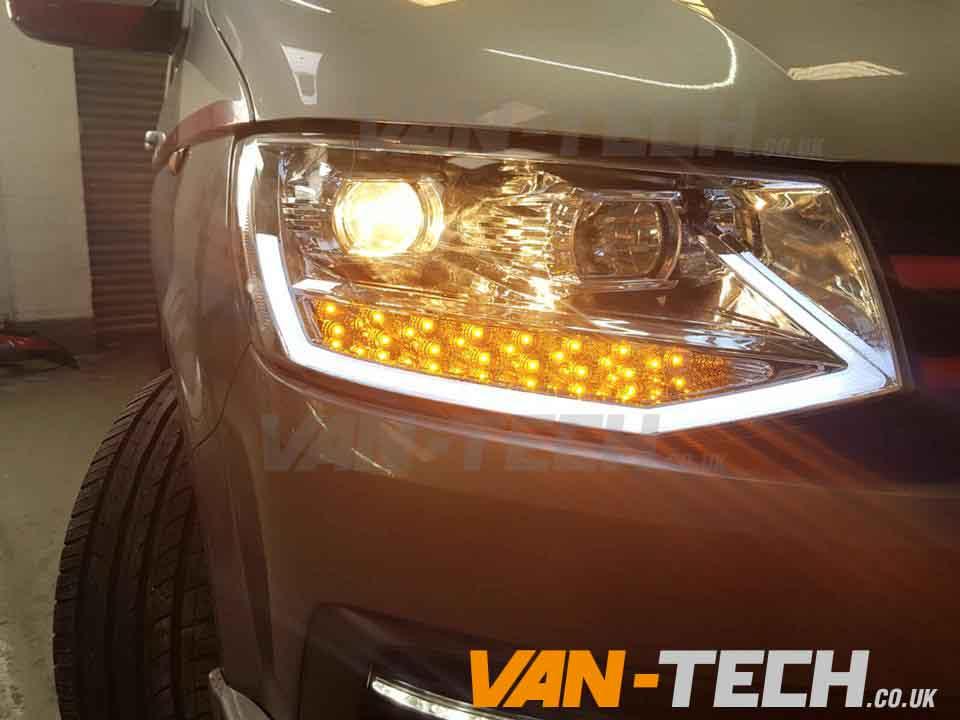 Vw transporter t6 led drl light bar headlights van tech vw t5 transporter van head lights drl light aloadofball Choice Image