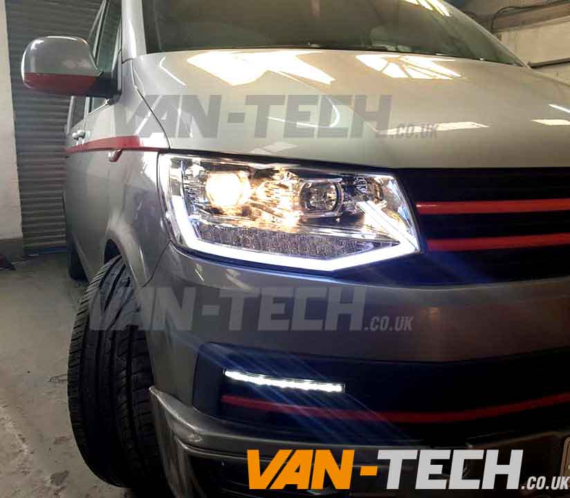 Led Drl Light Bar Headlights Fitted To A Vw T6 Van Van Tech