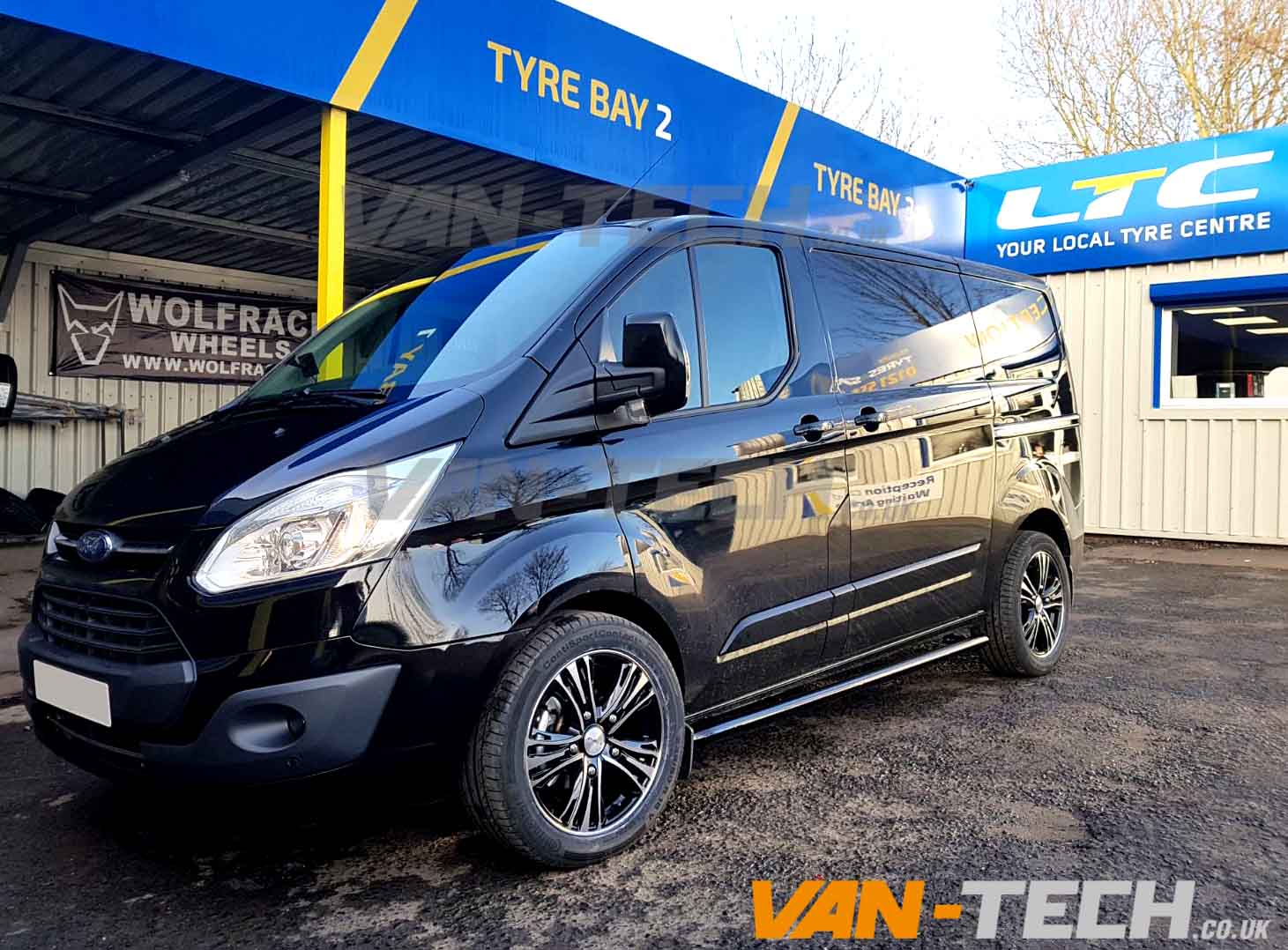 Ford Transit Custom with Black Side Bars and Calibre Odyssey