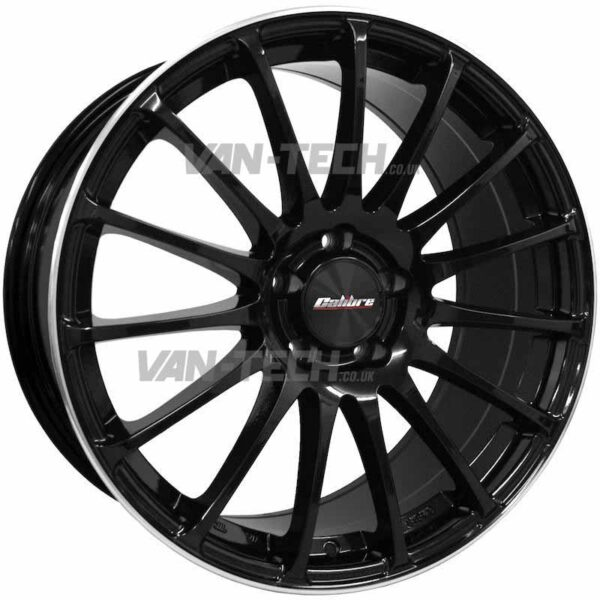 VW T5 T5.1 T6 Calibre Rapide 18″ Alloy Wheels Black Machined Edge