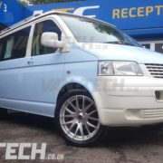 VW TRansporter T5 fitted with wolfrace munich silver 20 inch ally wheels (4)