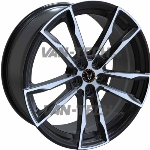 "VW T5 T5.1 T6 Wolfrace Dortmund 20"" Alloy Wheels Black / Polished"