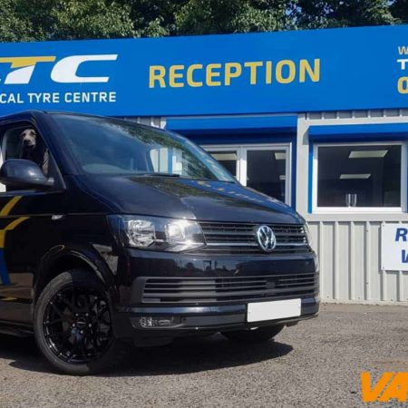VW T6 fitted with Exile-R Alloy Wheels and Side Bars