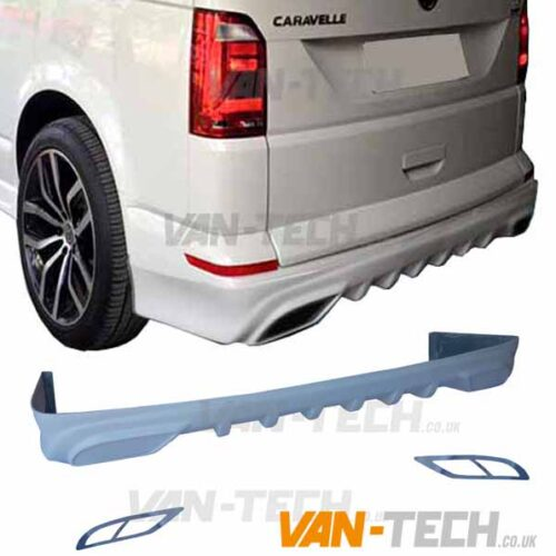 VW T5 T5.1 Rear Bumper Extension Diffuser Spoiler 2003-2015