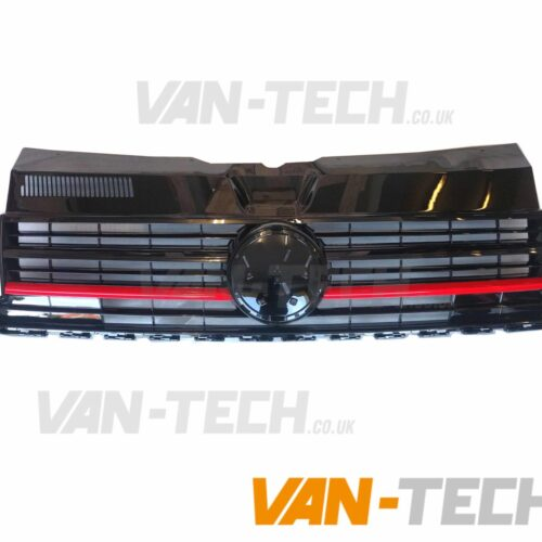 VW Transporter T6 Grille Gloss Black Badged Red Trim