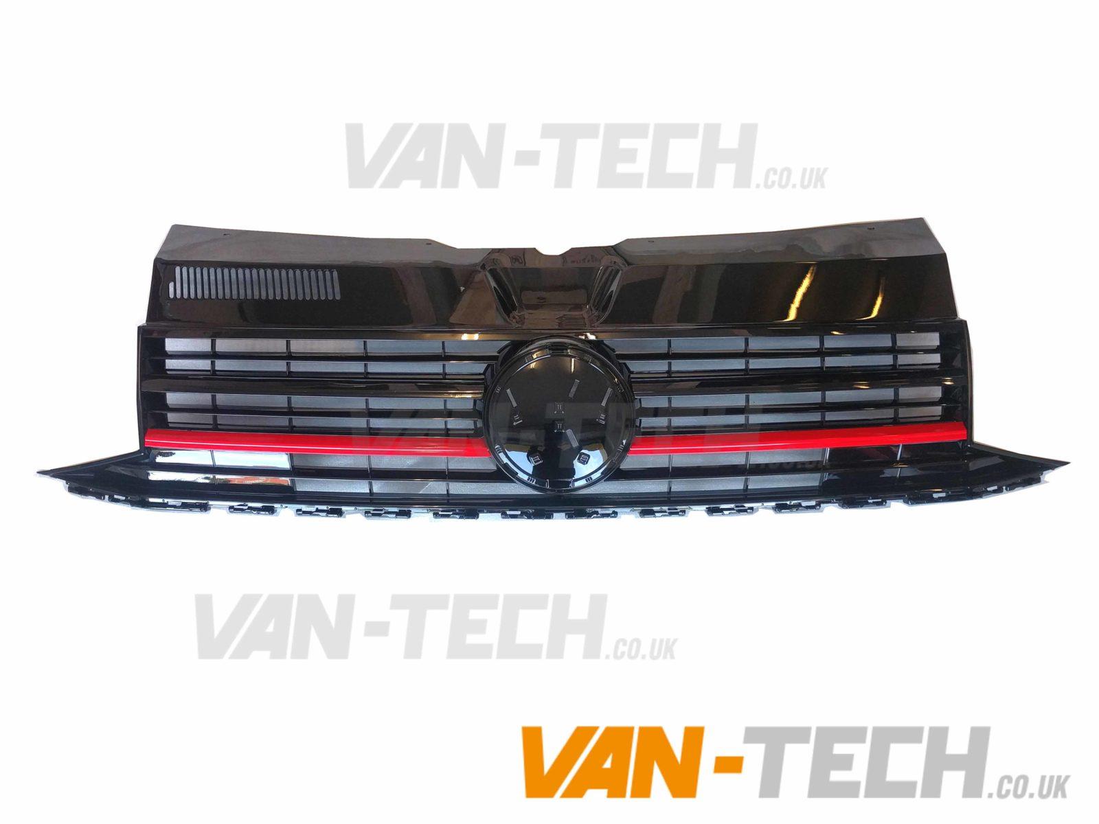 VW Transporter T6 Grille Gloss Black Badged Red Trim