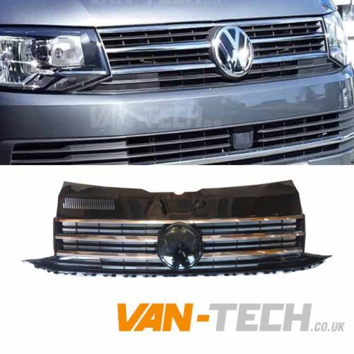 VW Transporter T6 Grille Gloss Black Badged Chrome Trim