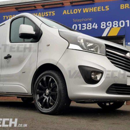 Riva SUV 18″ Black with polished lip Alloy Wheels for Vauxhall Vivaro