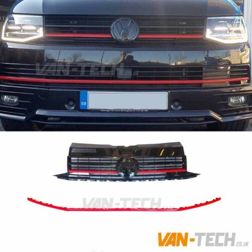 VW Transporter T6 Grille Badged and Lower Bumper Trim Red