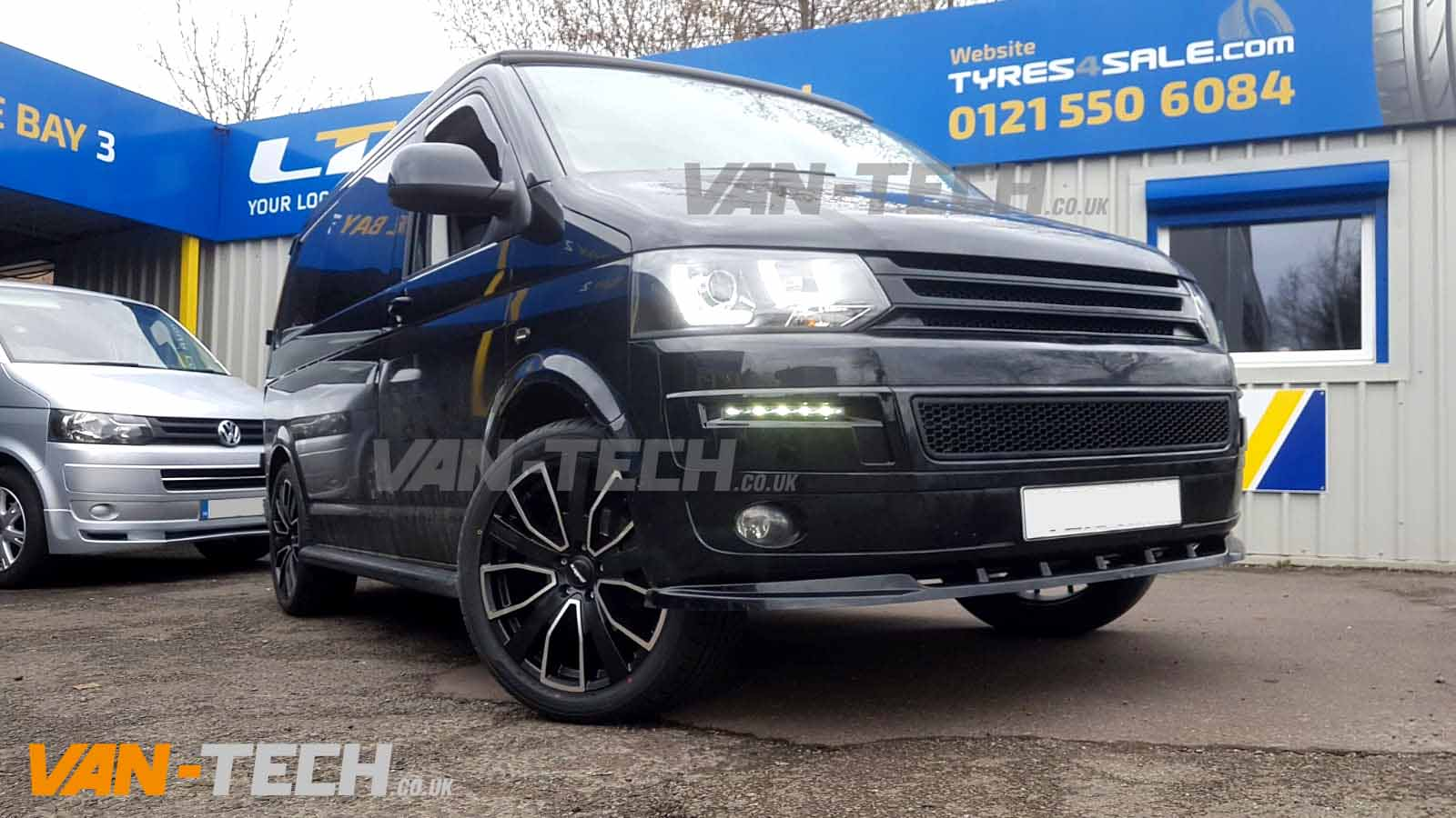Vw T5 1 Fitted With Alloy Wheels And Light Bar Headlights