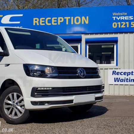 vw transporter t6 van supplied and fitted with sportline side bars chrome front bumper grille trim drls wind deflectors