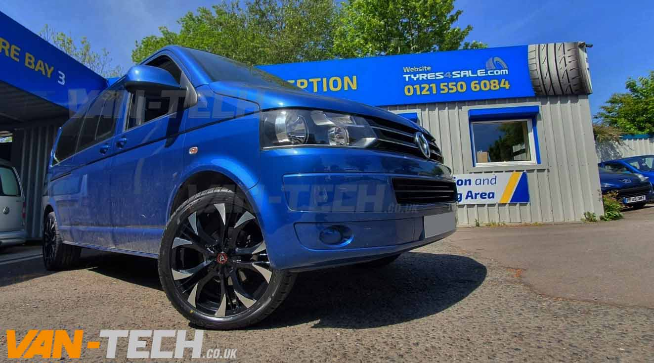 Wolfrace Assassin Alloy Wheels Black and Polished VW T5 Transporter