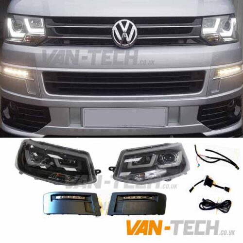 VW Transporter T5.1 Lightbar Headlights and Daytime Running Lights LED