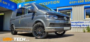 VW Transporter T6 Accessories including Alloy Wheels and Side Bars