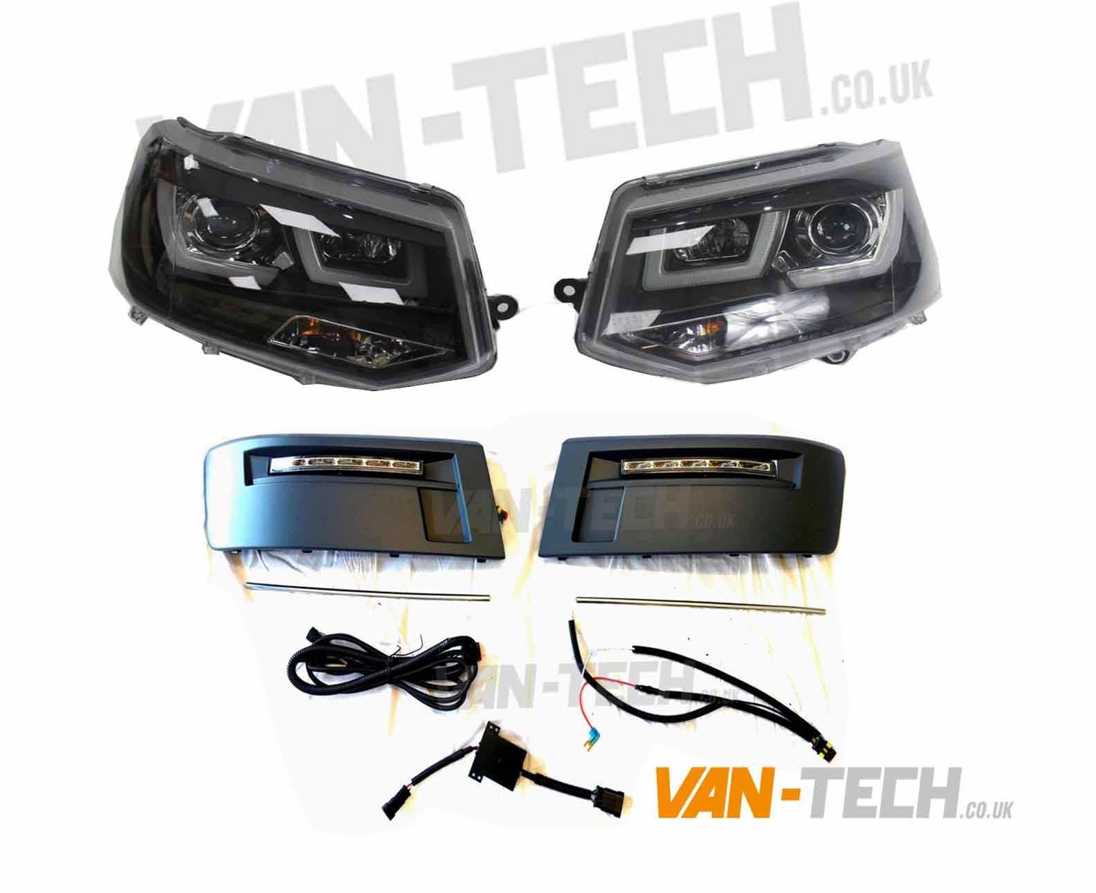 VW Transporter T5 1 Lightbar Headlights and Daytime Running Lights LED