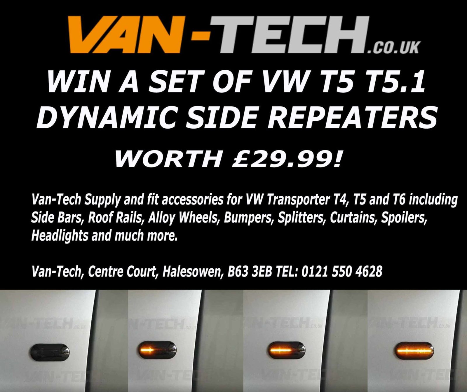 Van-Tech Competition Win a set Black Smoked Side Repeaters!