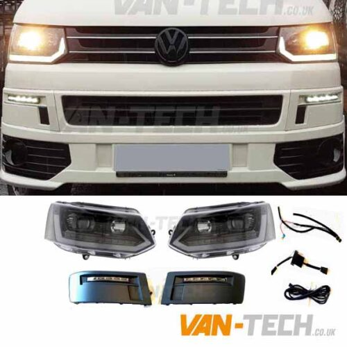 VW T5.1 New Style Lightbar Headlights and Daytime Running Lights LED