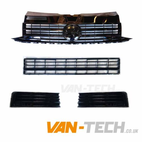 VW Transporter T6 Grille and Middle Bumper Inserts Black Trim