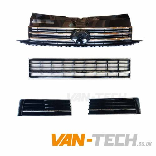 VW Transporter T6 Grille and Middle Bumper Inserts Chrome Trim