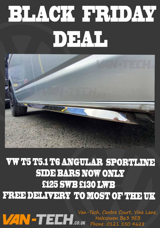 BLACK FRIDAY DEAL VW T5 T5.1 T6 Sportline Side Bars