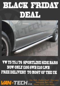 BLACK FRIDAY SALE VW T5 T5.1 and T6 Sportline Side Bars