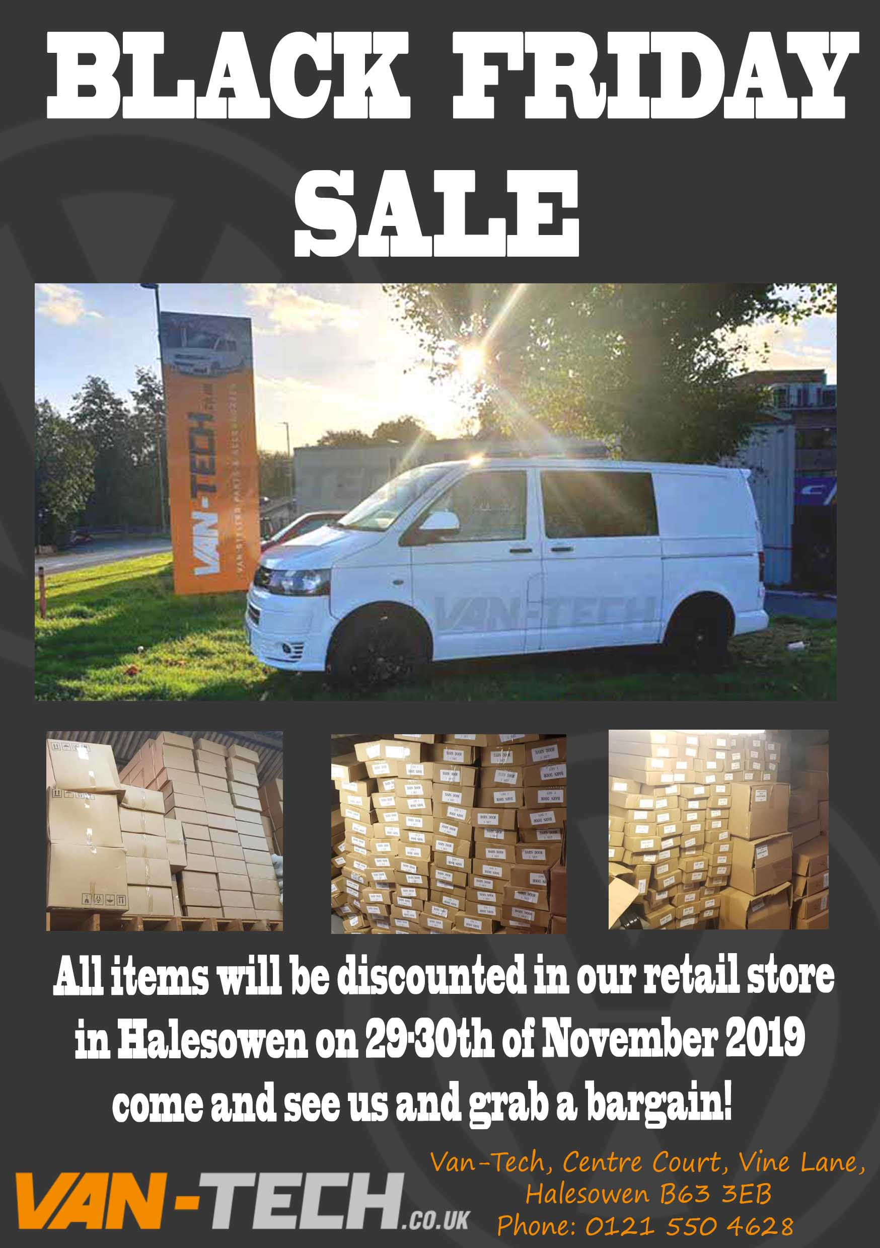 Van-Tech Black Friday Sale all items will be discounted in our retail store