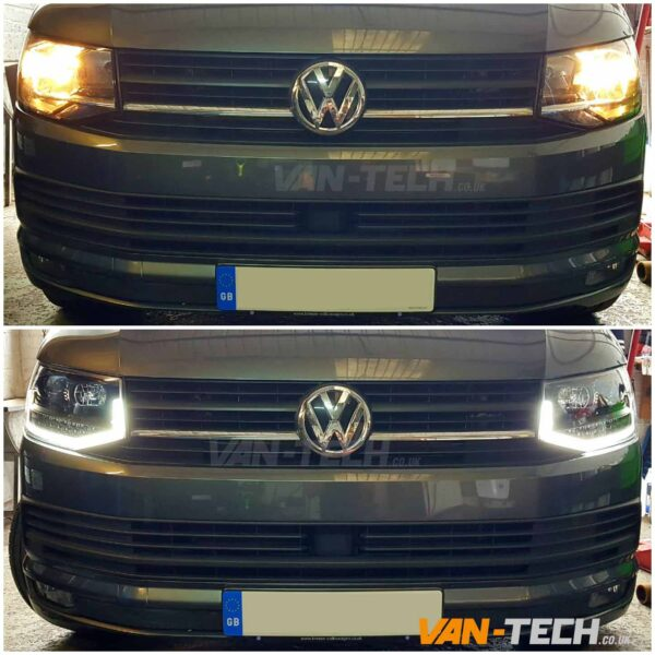 VW T6 LED DRL Light Bar Headlights Dynamic Indicators Flowing Sequential