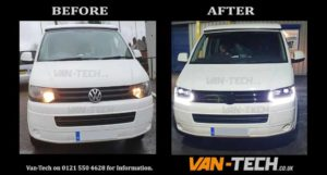 "VW Transporter T5.1 fitted with 20"" Wolfrace Munich Alloy Wheels, Light Bar Headlights, Sportline Style Side Bars, Front Grille and Dynamic Side Repeaters!"