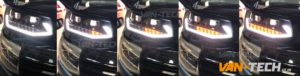 VW Transporter T6 LED DRL Light Bar Headlights Dynamic Indicators Flowing Sequential