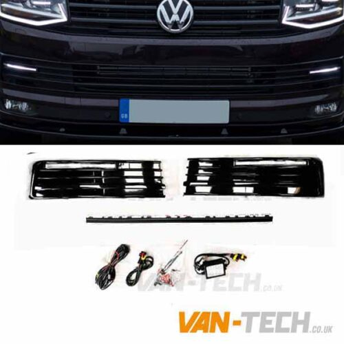 VW T6 DRL Daytime / Daylight Running Lights LED Gloss Black