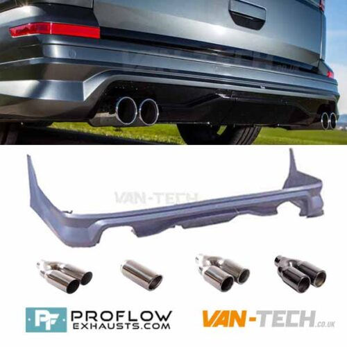 VW T6 Custom Dual Exit Exhaust and Rear Tailgate Bumper Diffuser