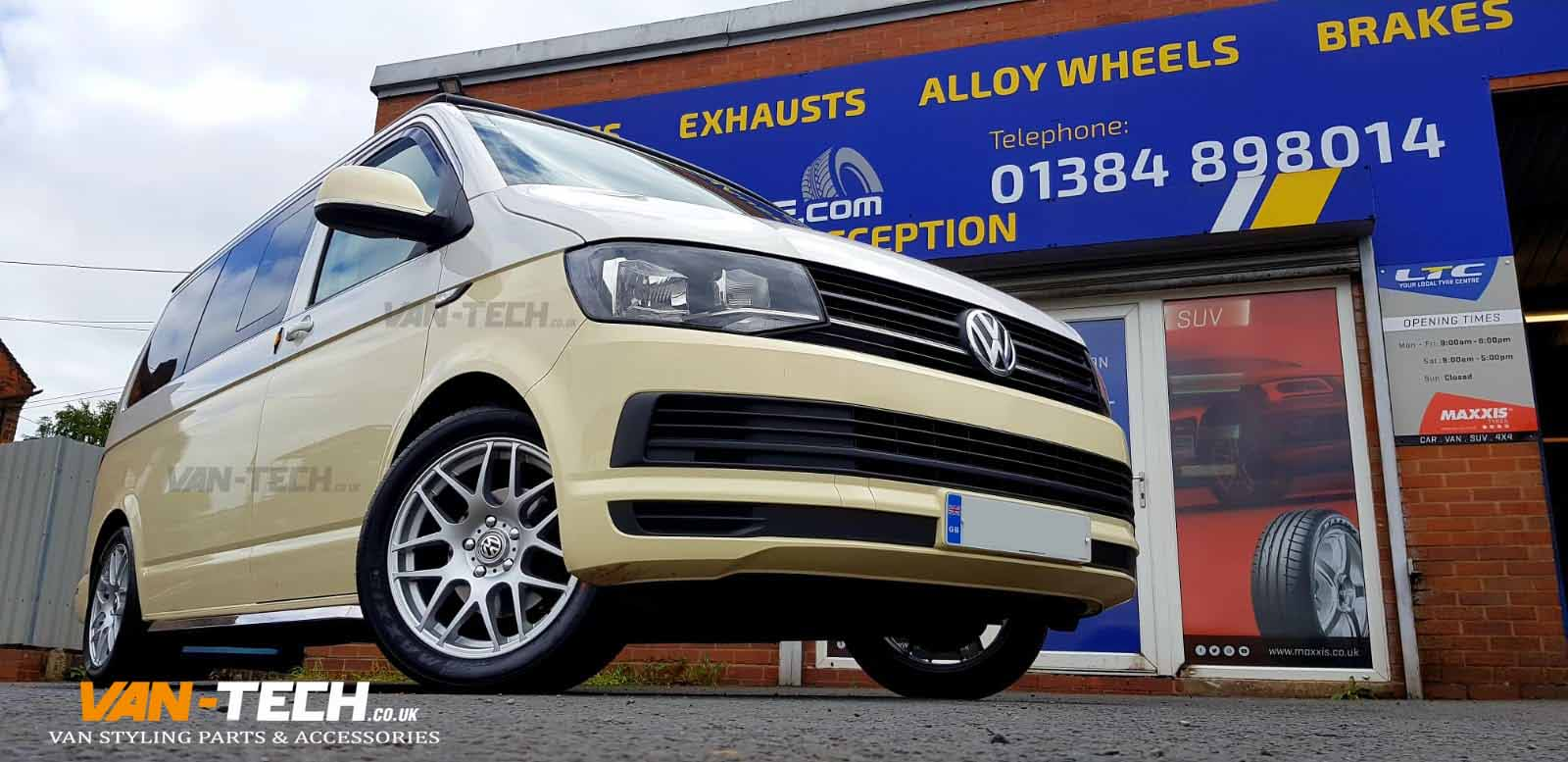 VW Transporter T6 Lowering kit 40MM H&R and DRC DRM Alloy Wheels