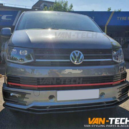VW Transporter T6 Light Bar Headlights, Sportline Bumper, Splitter and Middle Inserts Red Trim