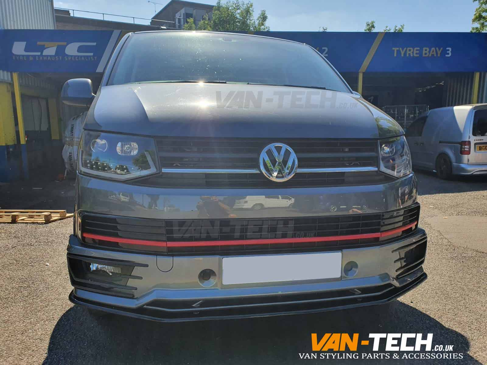 VW Transporter T6 Light Bar Headlights, Sportline Bumper, Splitter and Middle Inserts Red Trim