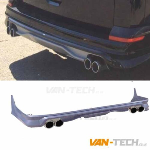 VW Transporter T6 Rear Tailgate Bumper Diffuser Splitter with Dummy Tailpipes