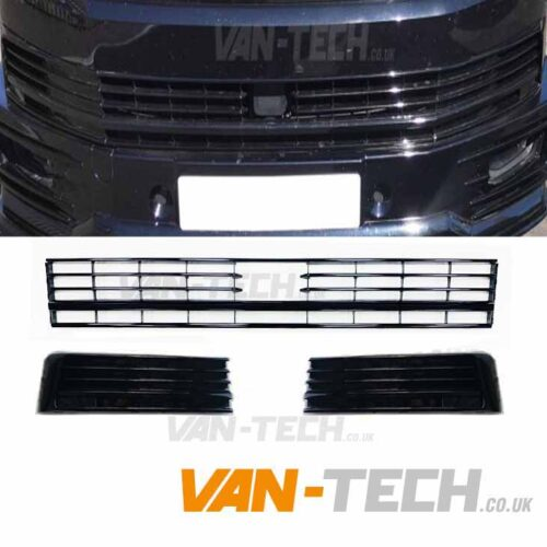 VW Transporter T6 Middle Bumper Inserts for Vans with Radar Sensor Gloss Black Trim